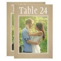 Portrait Photo Table Number Cards | Kraft Paper
