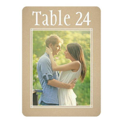 Portrait Photo Table Number Cards | Kraft Paper Custom Invite
