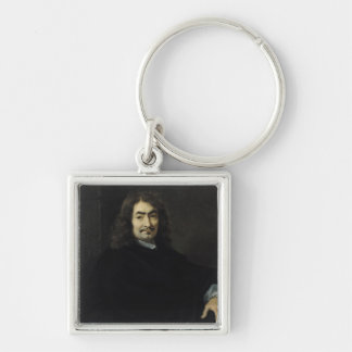 Portrait, presumed to be Rene Descartes Silver-Colored Square Keychain