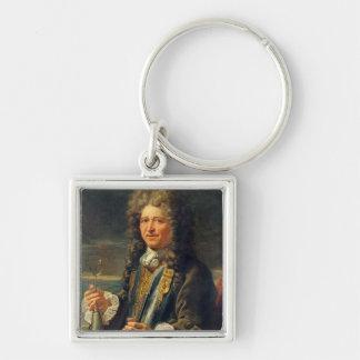 Portrait presumed to be Sebastien le Prestre Silver-Colored Square Keychain