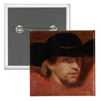 Portrait, presumed to be the artist, 1775 2 inch square button