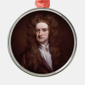 Portrait Sir Isaac Newton by Sir Godfrey Kneller Metal Ornament