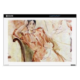 "Portrait studies of Jeanne Pontillon by Morisot 17"" Laptop Skin"