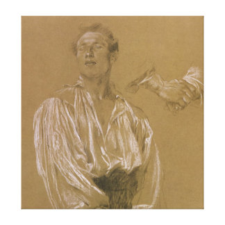 Portrait study of a man in a white shirt canvas print