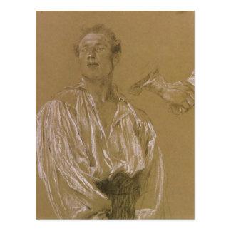 Portrait study of a man in a white shirt postcard