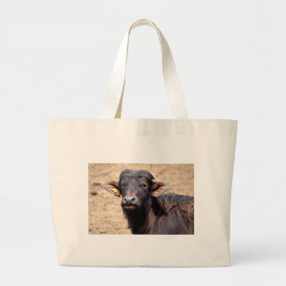 Portrait water buffalo calf tote bags