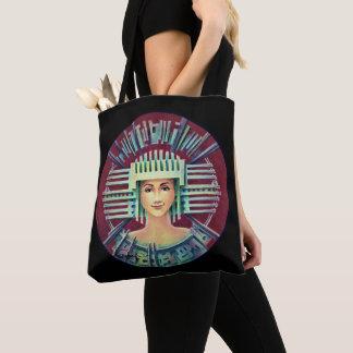 Portrait with silver Chullo/black Tote Bag