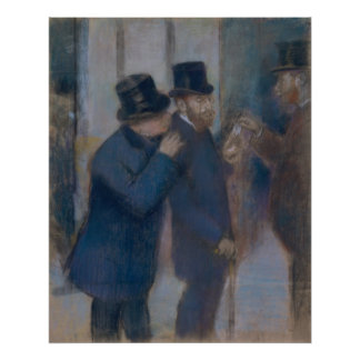 Portraits at the Stock Exchange by Edgar Degas Poster