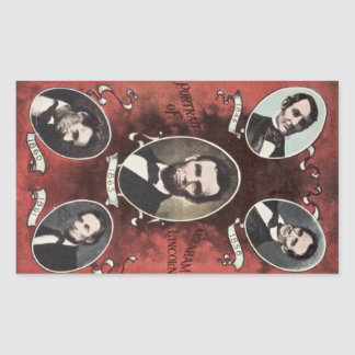 Portraits of Abraham Lincoln Vintage Rectangular Sticker