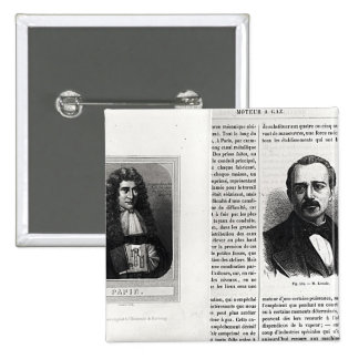 Portraits of Denis Papin  and Etienne Lenoir 2 Inch Square Button