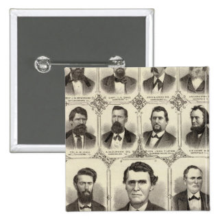 Portraits of John C Hall and Prof JW Bradshaw 2 Inch Square Button
