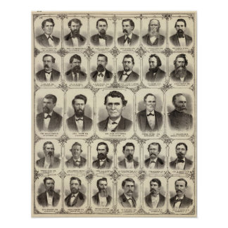 Portraits of John C Hall and Prof JW Bradshaw Poster