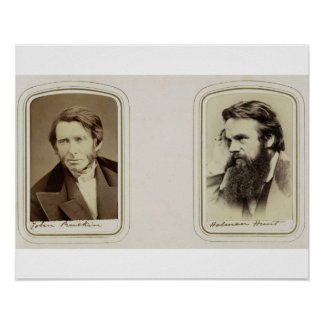 Portraits of John Ruskin (1819-1900) and William H Poster