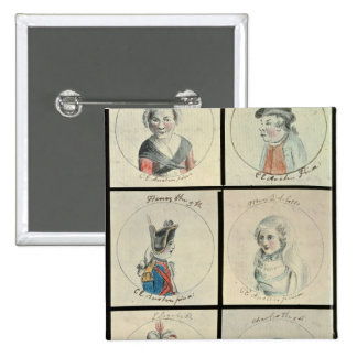 Portraits of Mary I  Edward IV 2 Inch Square Button