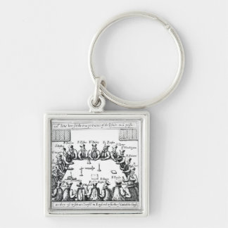 Portraits of the Jesuits and Priests Silver-Colored Square Keychain