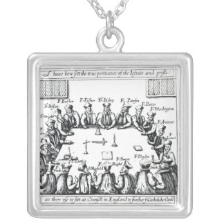Portraits of the Jesuits and Priests Square Pendant Necklace