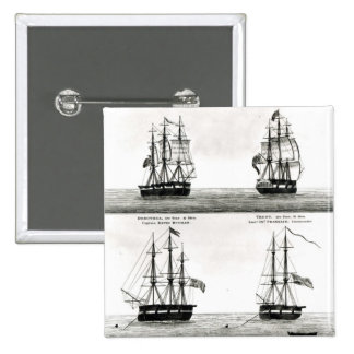 Portraits of the vessels on the Polar Expedition Pinback Button
