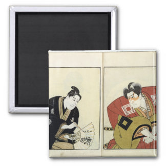 Portraits of Two Actors, 1803 2 Inch Square Magnet