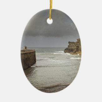 Portreath harbour Double-Sided oval ceramic christmas ornament