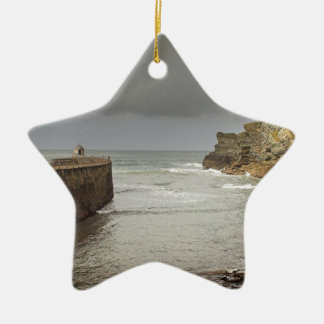 Portreath harbour Double-Sided star ceramic christmas ornament