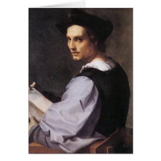 Portriat de un hombre joven tarjeta de felicitación