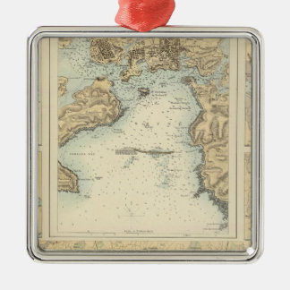 Ports and Harbours on the South Coast of England Square Metal Christmas Ornament