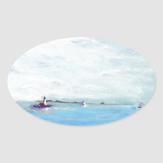 Portsmouth Harbor Primitive.jpg Oval Sticker