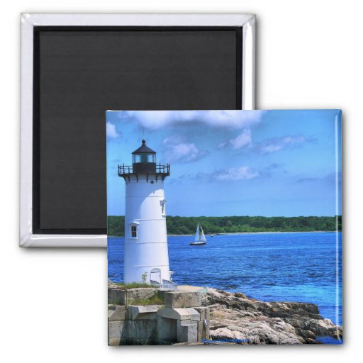 Portsmouth Lighthouse-Magnet 2 Inch Square Magnet