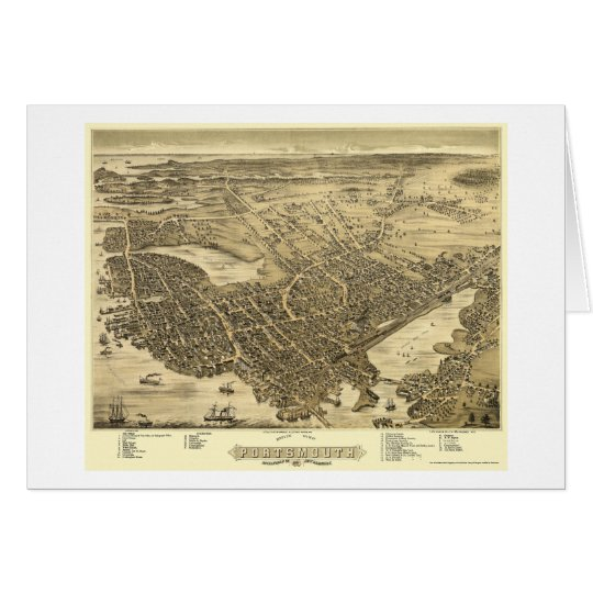 Portsmouth, NH Panoramic Map - 1877 Card
