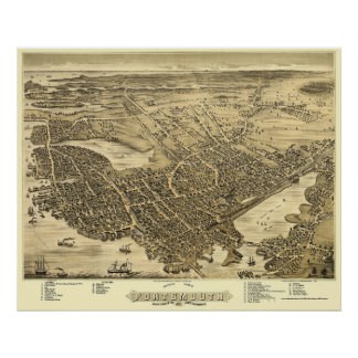 Portsmouth, NH Panoramic Map - 1877 Poster