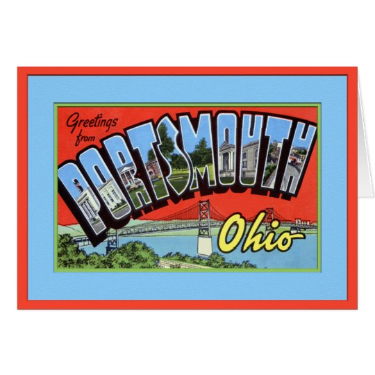 Portsmouth Ohio Large Letter Greetings Card