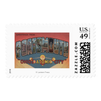 Portsmouth, Ohio - Large Letter Scenes Stamp