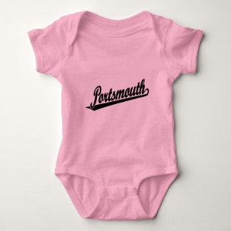 Portsmouth script logo in black baby bodysuit