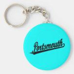 Portsmouth script logo in black keychain