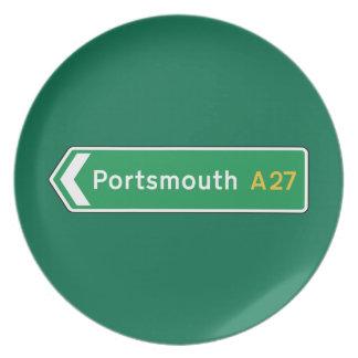 Portsmouth señal de tráfico BRITÁNICA Platos De Comidas