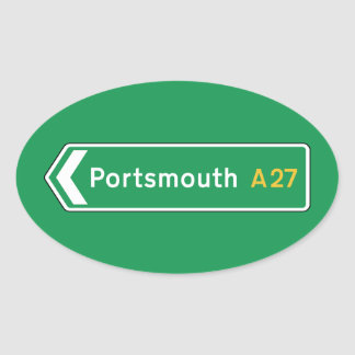 Portsmouth, UK Road Sign Oval Sticker