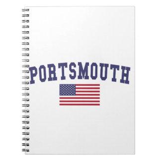 Portsmouth US Flag Spiral Notebook
