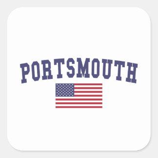 Portsmouth US Flag Square Sticker