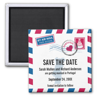 PORTUGAL Air Mail Wedding Save the Date Refrigerator Magnets