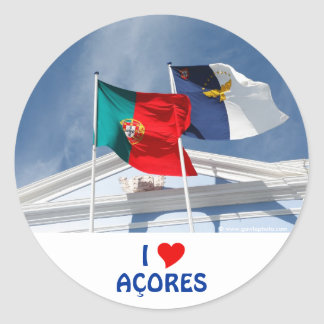 Portugal and Azores flags Classic Round Sticker