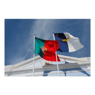 Portugal and Azores flags Poster