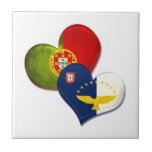 Portugal and Azores hearts Ceramic Tile