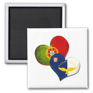 Portugal and Azores hearts 2 Inch Square Magnet