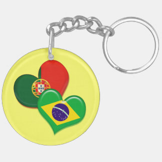 Portugal and Brazil hearts Double-Sided Round Acrylic Keychain