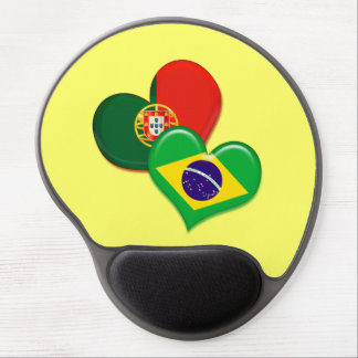 Portugal and Brazil hearts Gel Mouse Pad