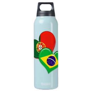 Portugal and Brazil hearts Insulated Water Bottle