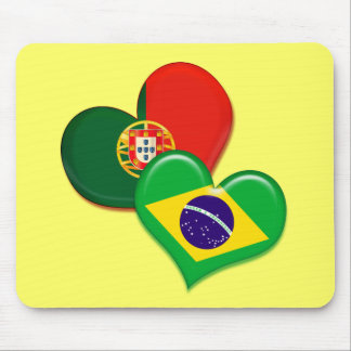 Portugal and Brazil hearts Mouse Pad