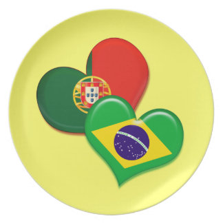 Portugal and Brazil hearts Party Plate