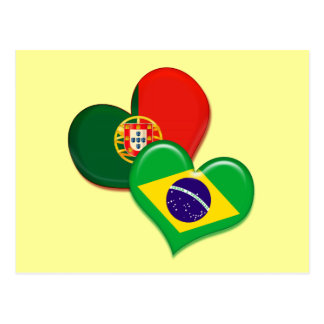 Portugal and Brazil hearts Postcard