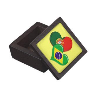 Portugal and Brazil hearts Premium Keepsake Boxes